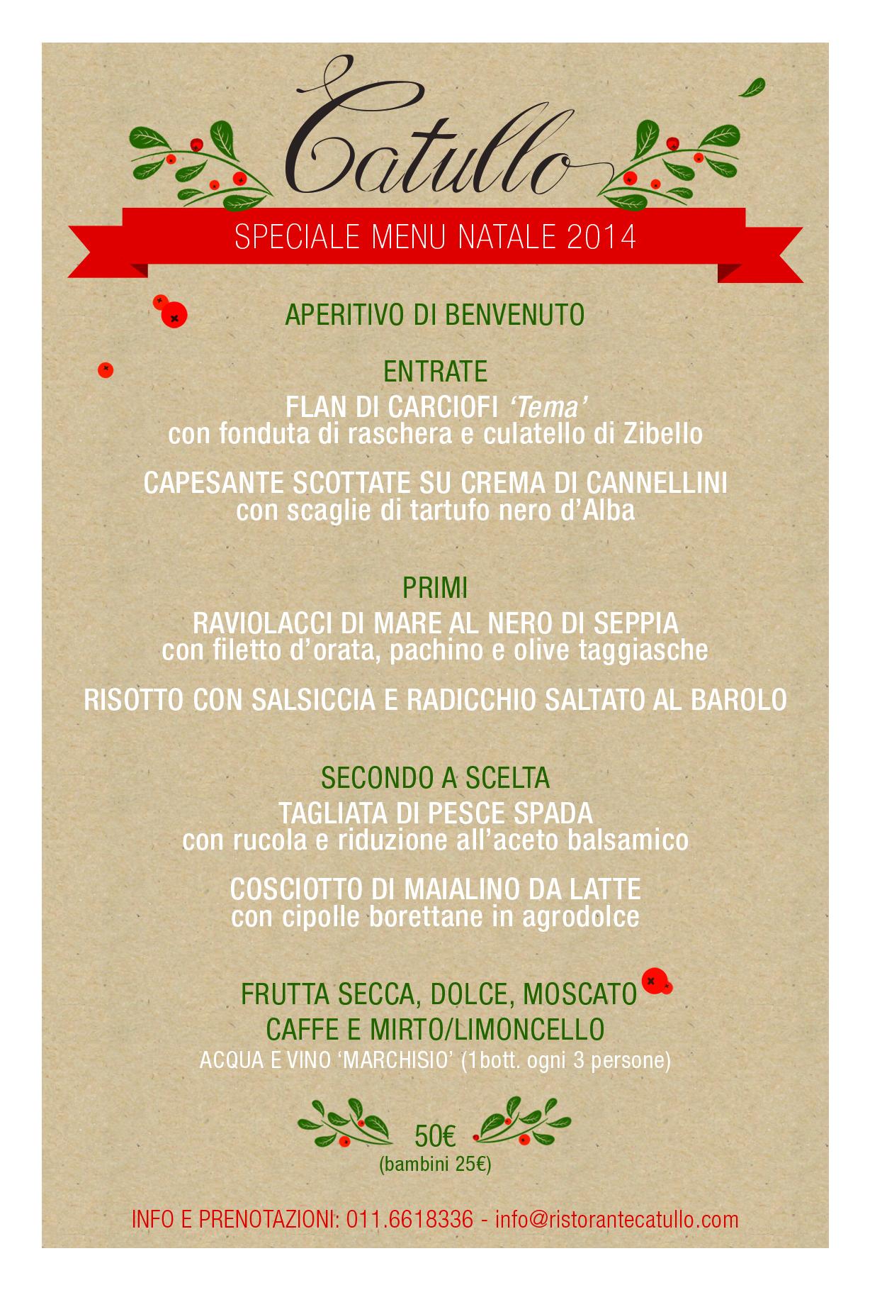 Menu Pranzo Di Natale Napoletano.Pranzo Di Natale 2014 Catullo Ristorante Pizzeria Torino